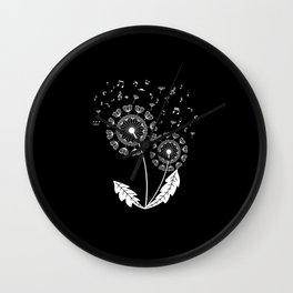 Dandelion Music Clef Musical Notes Wall Clock