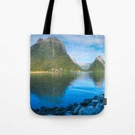 Serene Morning at Milford Sound Tote Bag