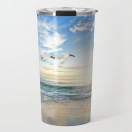 Ocean Beach Waves Sunset Photo Travel Mug