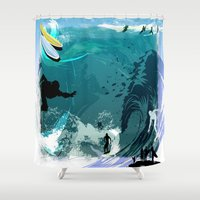 surfing Shower Curtains featuring Surfing by Robin Curtiss