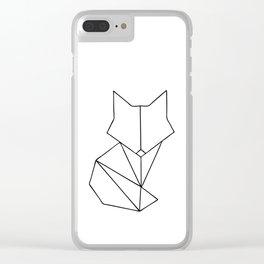 Geometric Fox - Black Clear iPhone Case