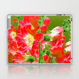 Moss Green Red Orange Holly Hocks Pattern  Color Floral Art Laptop & iPad Skin