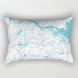 Amsterdam White on Turquoise Street Map Rectangular Pillow