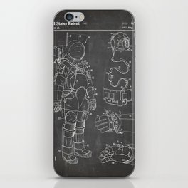 Nasa Apollo Spacesuite Patent - Nasa Astronaut Art - Black Chalkboard iPhone Skin