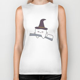cute cartoon tooth with witch hat flying on toothbrush funny halloween illustration Biker Tank