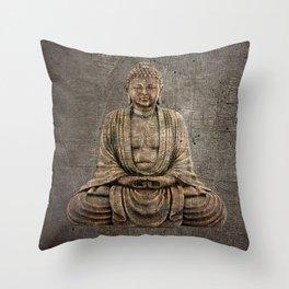 Sitting Buddha On Distressed Metal Background Throw Pillow