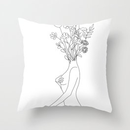 Minimal Line Bloom Throw Pillow