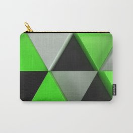 Pattern of black, white and green triangle prisms Carry-All Pouch