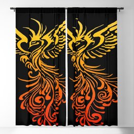 Rising From The Ashes Detailed Phoenix Flame Ombre Blackout Curtain