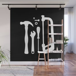 Black and White Tools Wall Mural