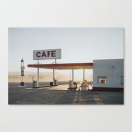 Roys Motel and Cafe at Dusk // Mojave Desert Canvas Print