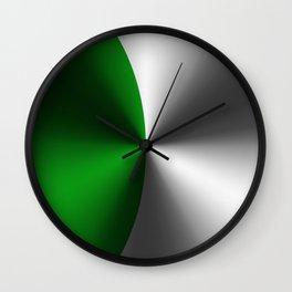 Green & Silver Faux Metallic Design Wall Clock