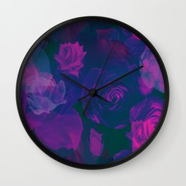 Pink & Purple Roses Wall Clock