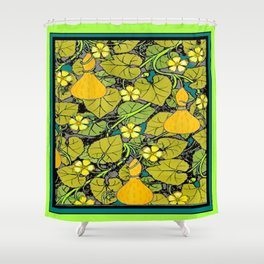 Green Art Nouveau Vines Gourds Floral Teal Art Shower Curtain
