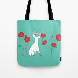 Siamese & Poppies Tote Bag
