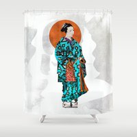 geisha Shower Curtains featuring Geisha by Steve W Schwartz Art