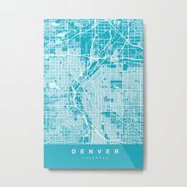 Denver Map Colorado | Blue & Cyan II | More Colors, Review My Collections Metal Print