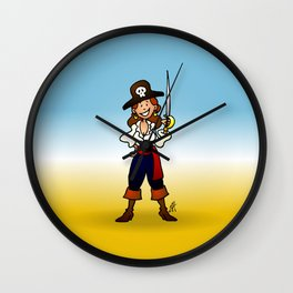 Pirate Girl Wall Clock