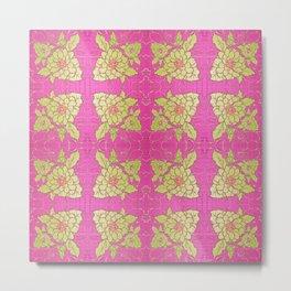 Retro Vintage Kitsch Kitchen 70's Floral Pink Metal Print