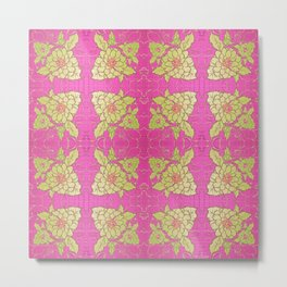 Retro Vintage Kitsch Kitchen 70's Floral Pink Metal Print