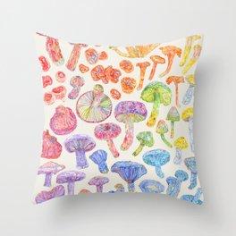 Wild Mushroom Rainbow - Neutral Throw Pillow