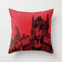 optimus prime Throw Pillows featuring Transformers: Optimus Prime by Skullmuffins