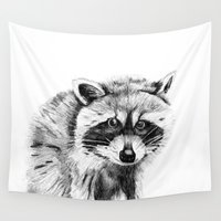 raccoon Wall Tapestries featuring Raccoon by Trey Crim