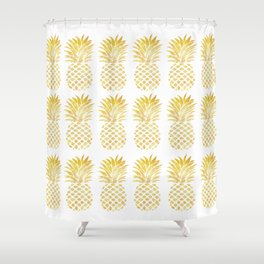 PINEAPPLE - TAKE-TIME-TO-DO-WHAT-MAKES-YOUR-SOUL-HAPPY Shower Curtain
