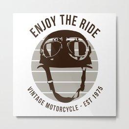 Enjoy The Ride - Vintage Motorcycle Metal Print