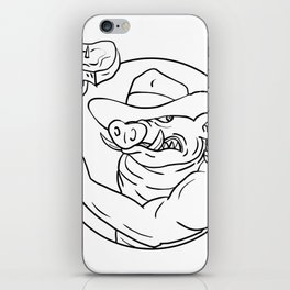 Cowboy Wild Pig Holding Barbecue Steak Drawing Black and White iPhone Skin