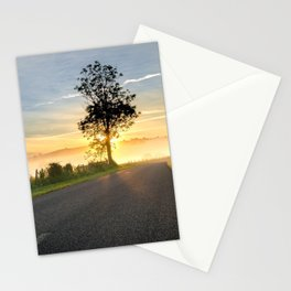 Lonely Tree At Foggy Country Road Ultra HD Stationery Cards