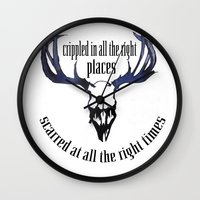 antlers Wall Clocks featuring Antlers by madbiffymorghulis