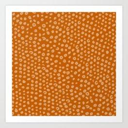 Polka Dot Pattern Dark Burnt Orange Red Art Print