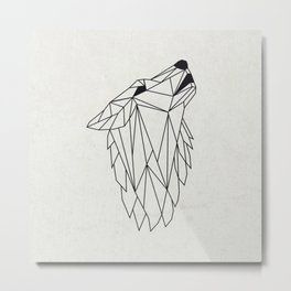 Geometric Howling Wild Wolf Metal Print