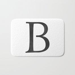 Letter B Initial Monogram Black and White Bath Mat