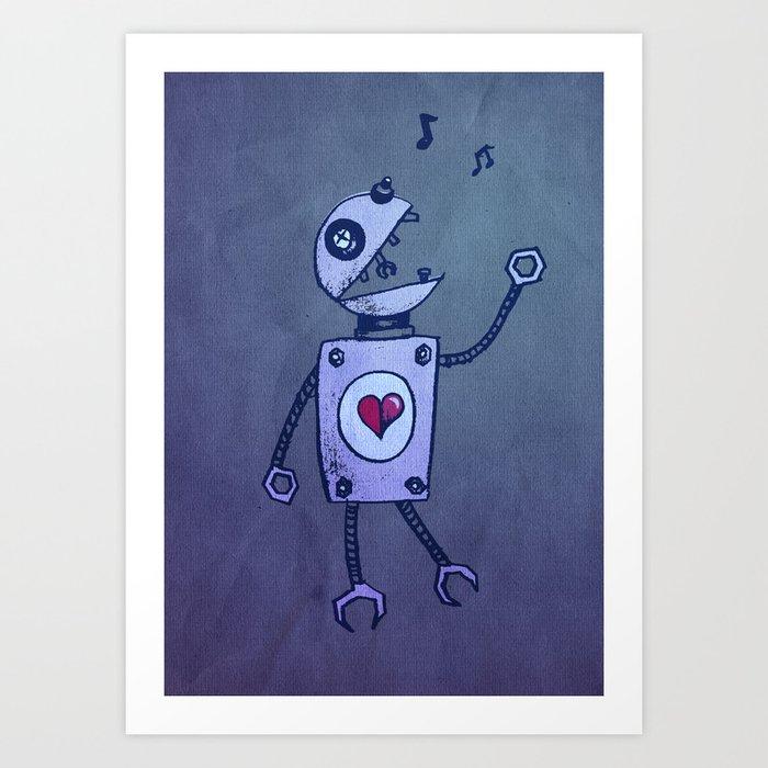 Happy Cartoon Singing Robot Art Print