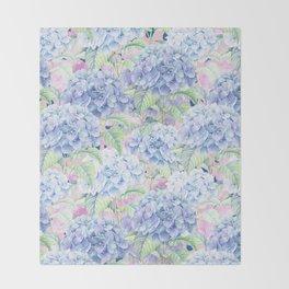 Botanical pink lavender watercolor hortensia floral Throw Blanket