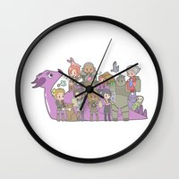 dragon age Wall Clocks featuring Dragon Age - Origins Companions by Choco-Minto