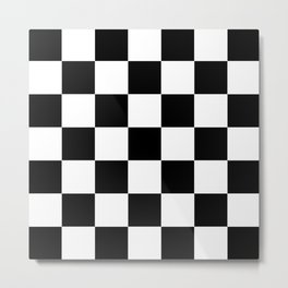 Large Black Checkerboard Pattern Metal Print