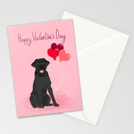 Black Labrador Retriever dog breed valentines day heart love balloons gifts black labs Stationery Cards