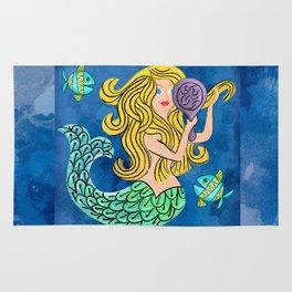 Storybook Golden Mermaid Rug