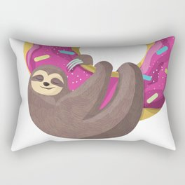 Cute sloth hanging from the donut Rectangular Pillow