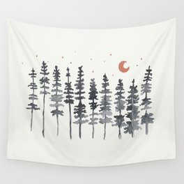 Nighttime Watercolor Forest Wall Tapestry