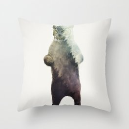 Owlbear in Forest Throw Pillow