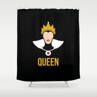 evil queen Shower Curtains featuring Distorted Dizney: Evil Queen by hellomikho