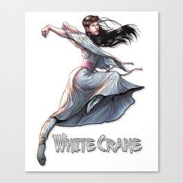 White Crane Comic Kung Fu Girl tshirt cute martial arts gift Canvas Print
