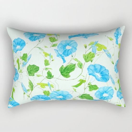 blue morning glory pattern Rectangular Pillow