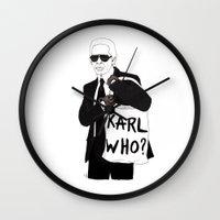 karl Wall Clocks featuring Karl by Les Gutiérrez