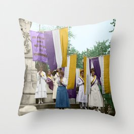 Lafayette, We Are Here! Suffragists protest across from the White House in 1918 Throw Pillow