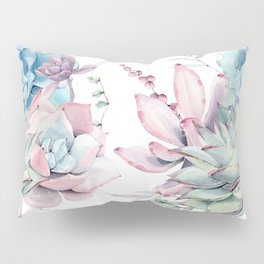 Pretty Pastel Succulents Garden 1 Pillow Sham